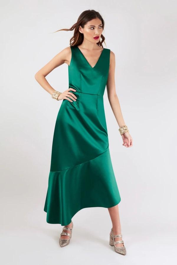 Closet Gold Green Asymmetric Frill Dress