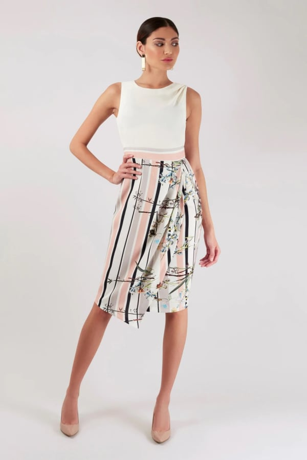 Ivory Draped Top and Skirt Dress