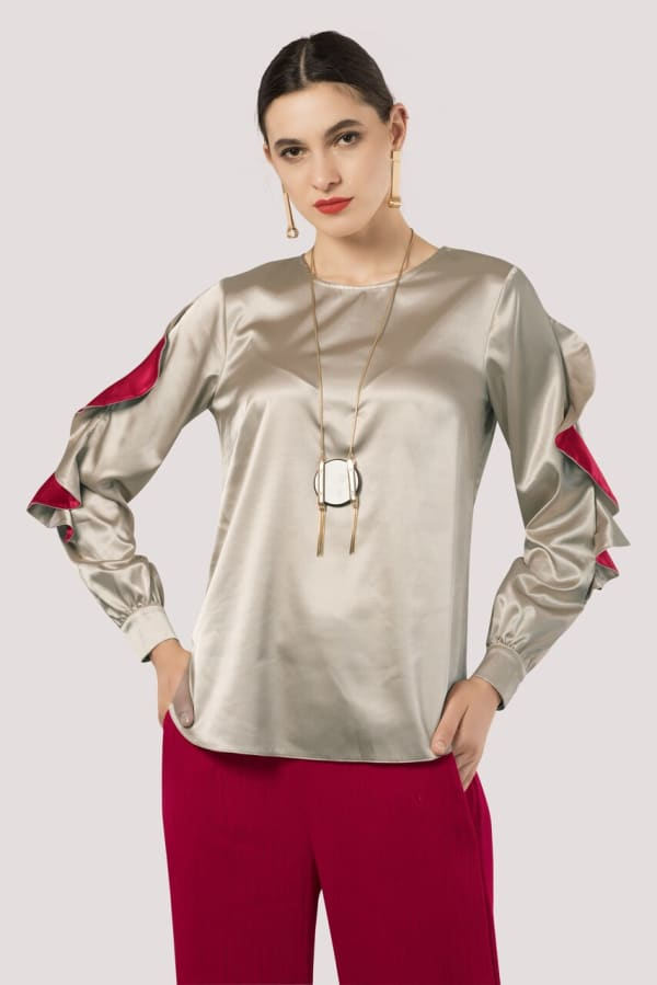 Gold Frill Sleeve Blouse