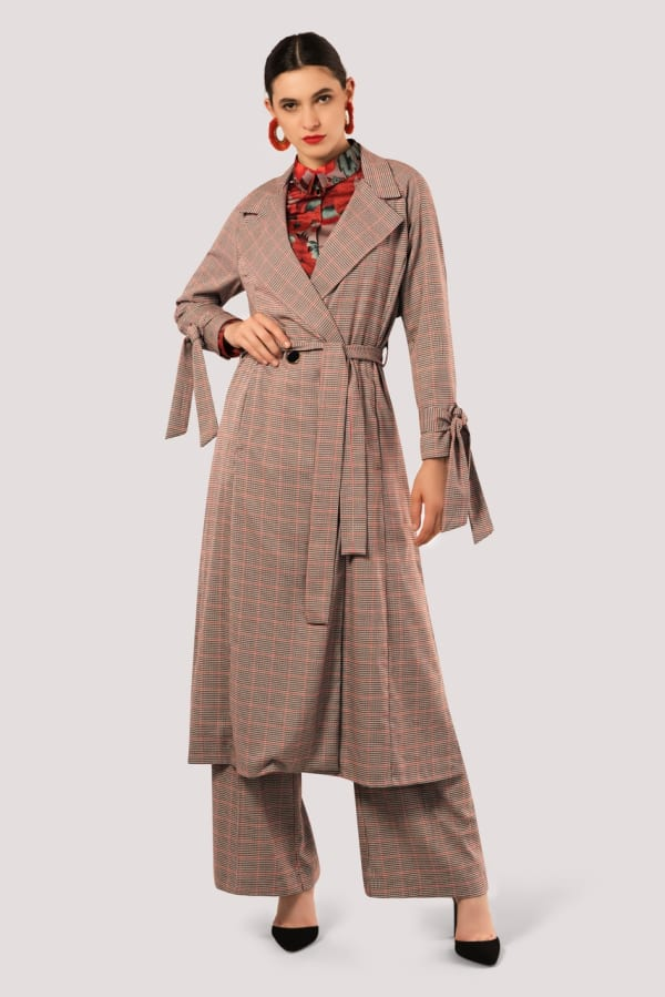 Red Check Tied Cuff Trench Coat