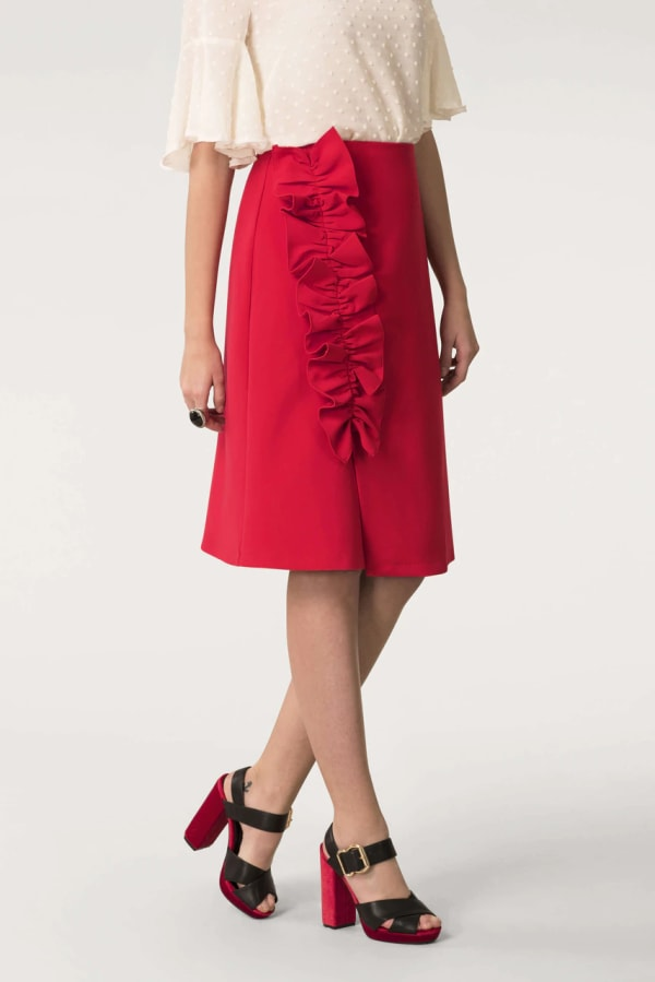 Red Asymmetric Frill Sheath Skirt