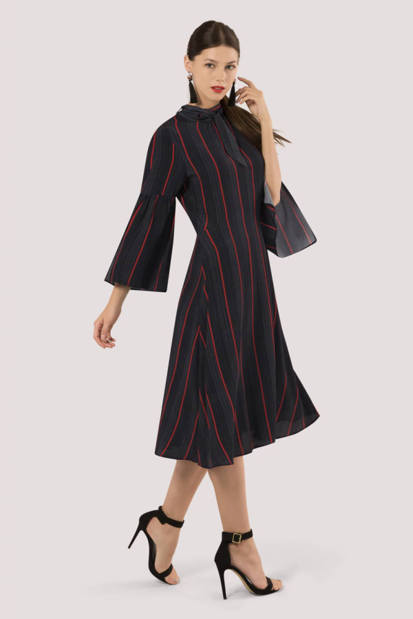 Black Stripe Trumpet Sleeve Tie Neck Dress