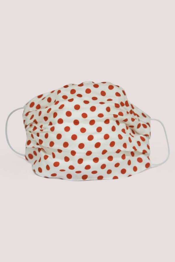Ivory Red Spotted Double Layer Fabric Face Mask