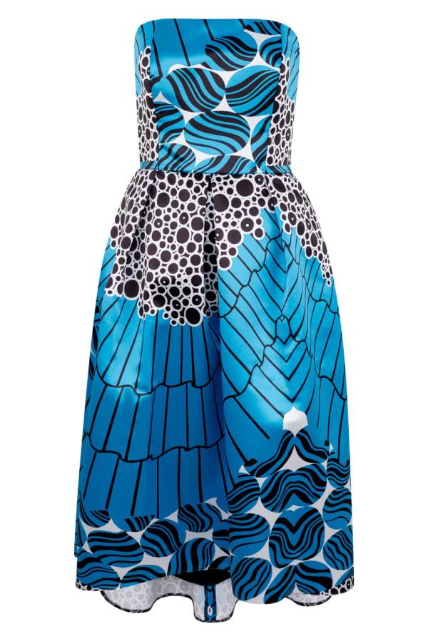 Closet Gold Satin Blue Strapless High-Low Dress