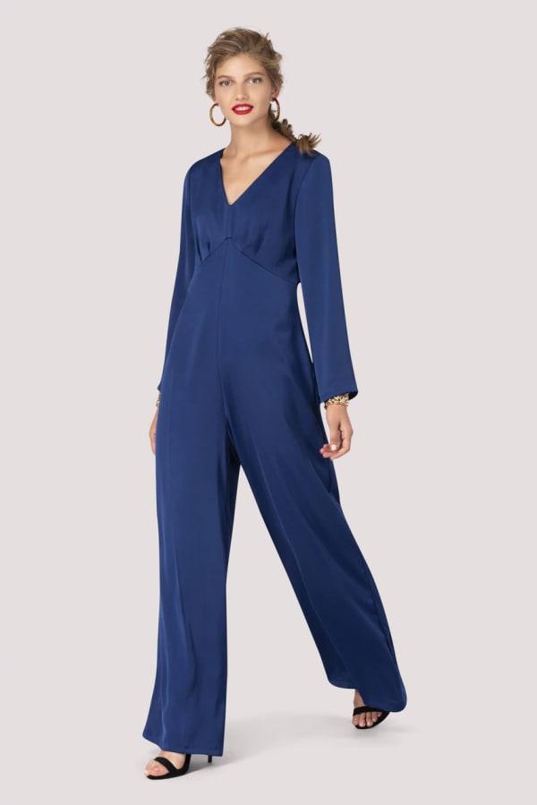 Blue V-Neck Empire Waist Jumpsuit