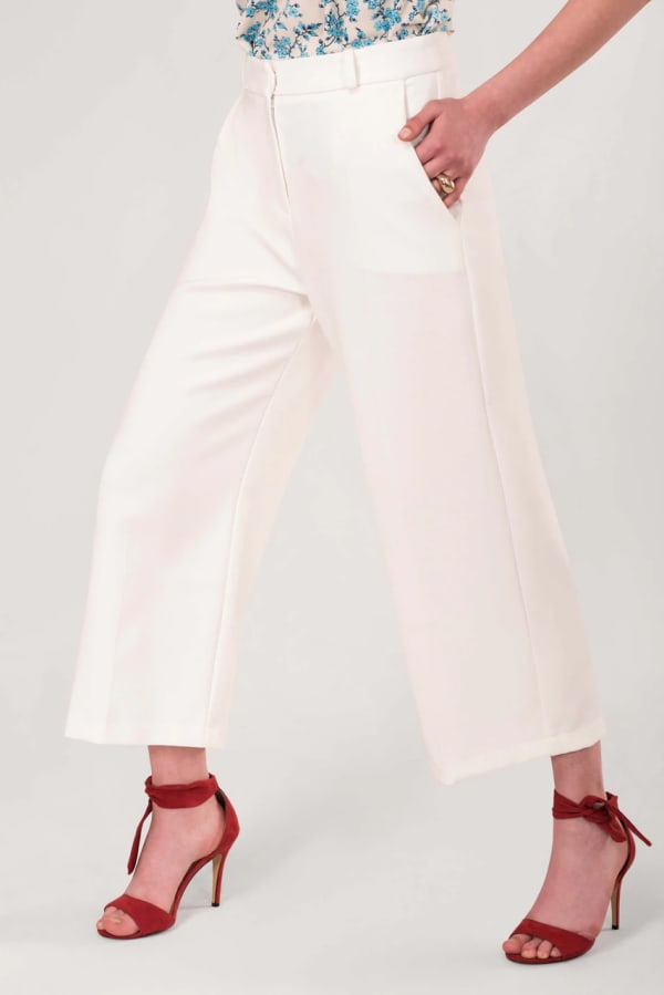 Cream White Wide Leg Trousers