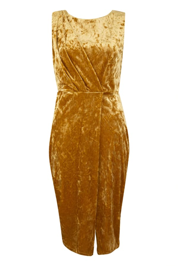 Gold Shiny Velvet Draped Sleeveless Wrap Dress
