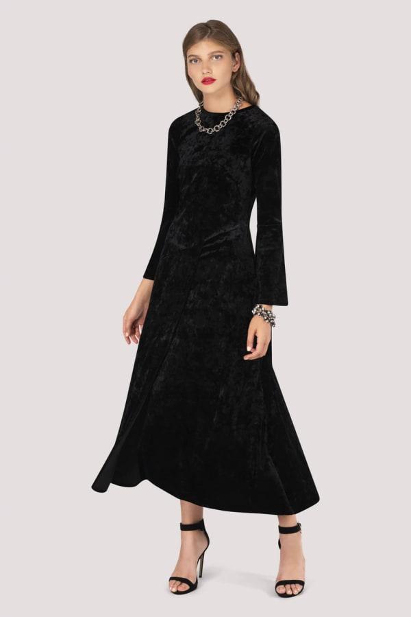 Crushed Velvet Black Asymmetric A-Line Dress