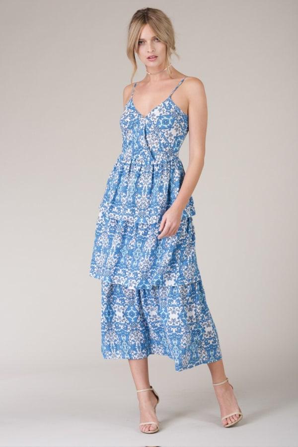 Floral Blue Strap Ruffle Layer Dress