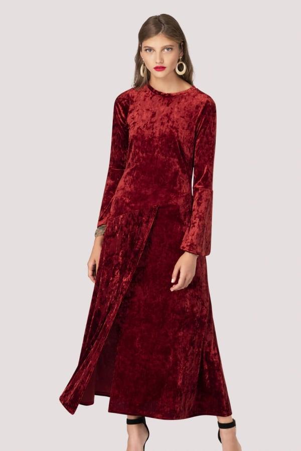 Crushed Velvet Rust Asymmetric A-Line Dress