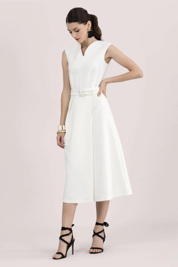 Ivory V-Neck Wrap Skirt Midi Dress