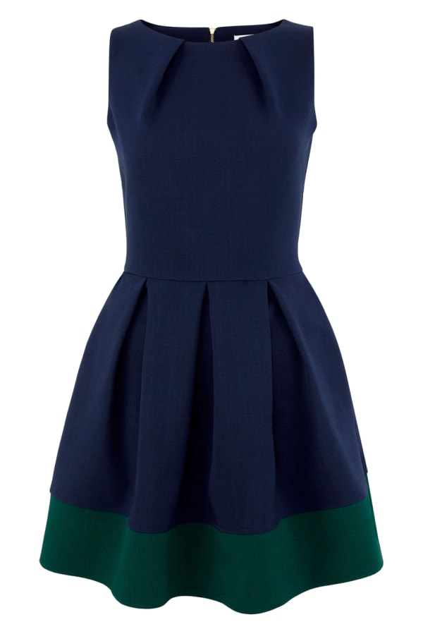 Navy Fit And Flare Skater Dress with Dark Green Contrast Hem