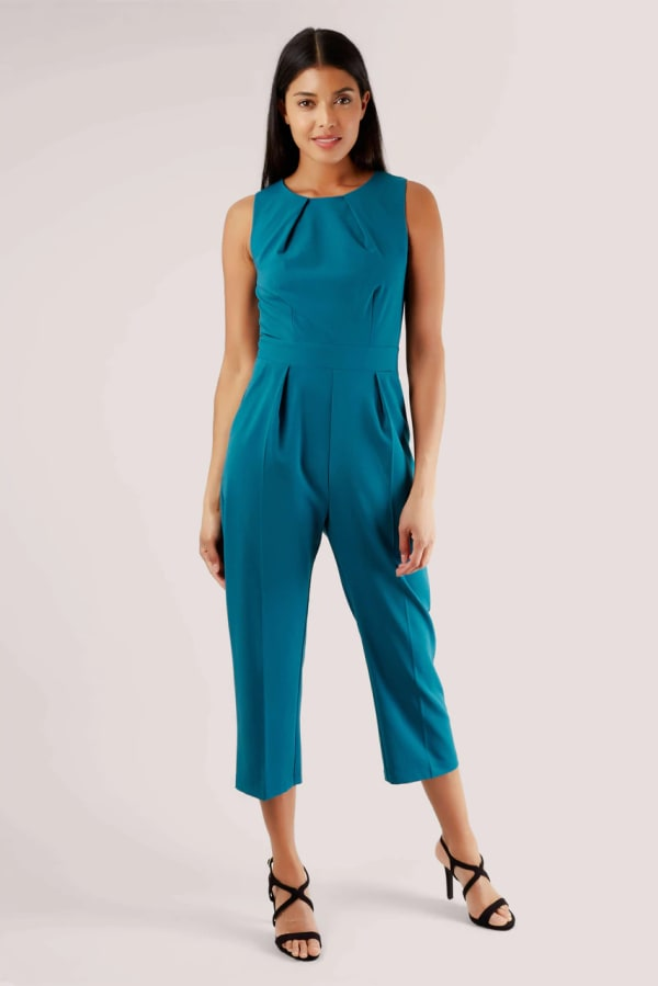 Teal Pleated Waist Cropped Jumpsuit