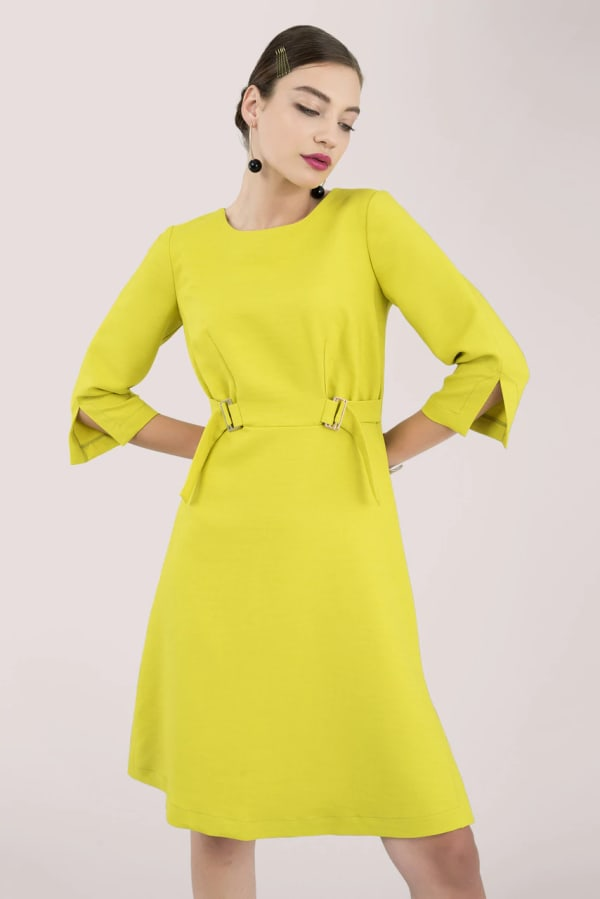 Lime Dress With Split Sleeves