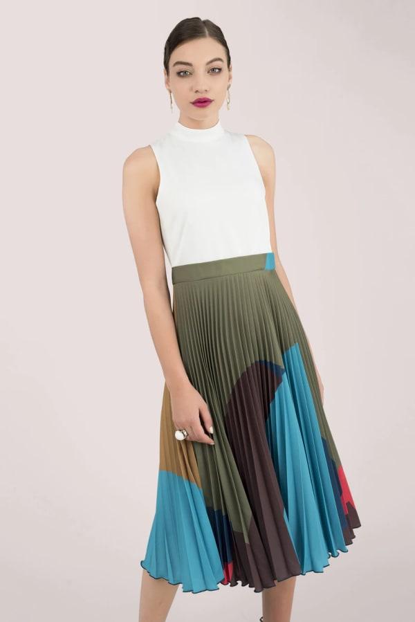 Sleeveless High Neck Midi Dress with Printed Pleated Skirt