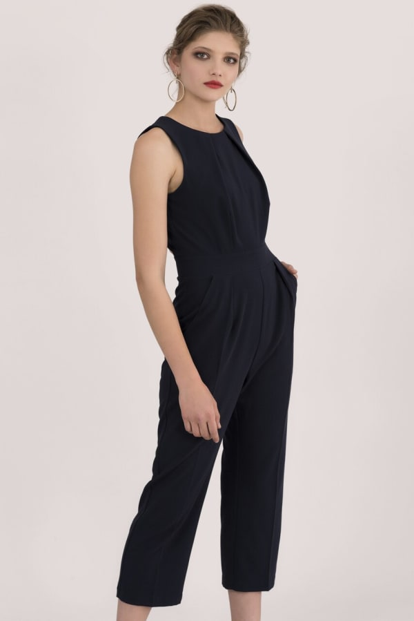 Navy Pleated Waist Cropped Jumpsuit
