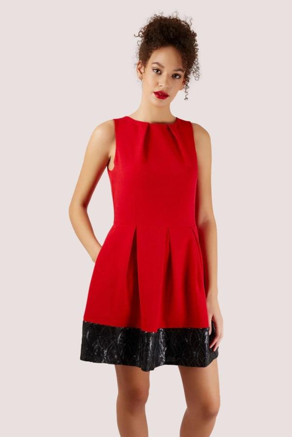 Red Skater Dress With Black Sequin Hem