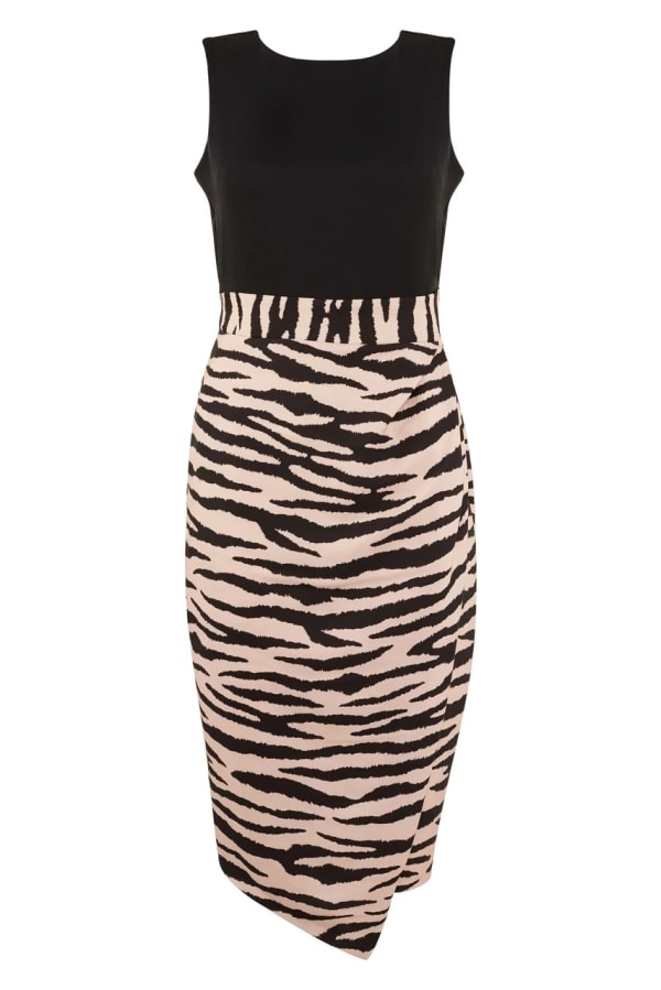 2-in-1 Black With Tiger Print Skirt Dress