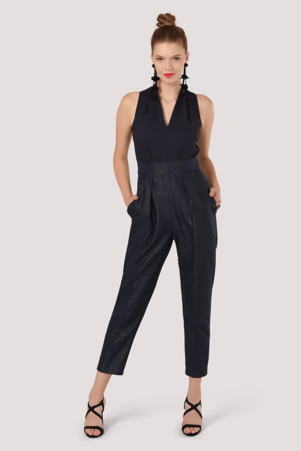 Closet Gold Navy 2 In 1 V-Neck Sleeveless Jumpsuit