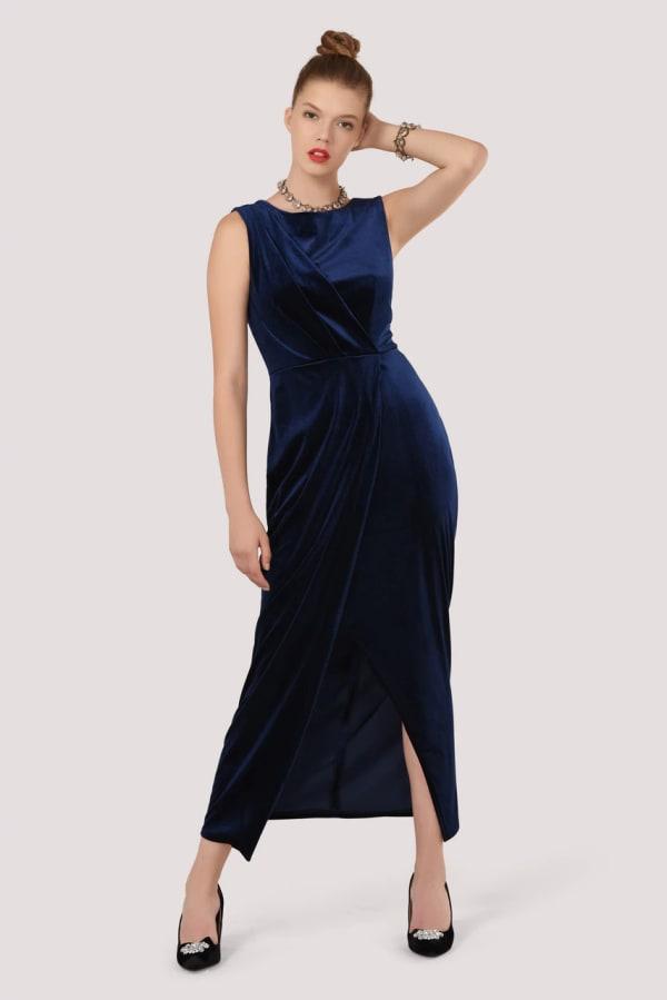Closet Gold Navy Velvet Draped Sleeveless Wrap Dress