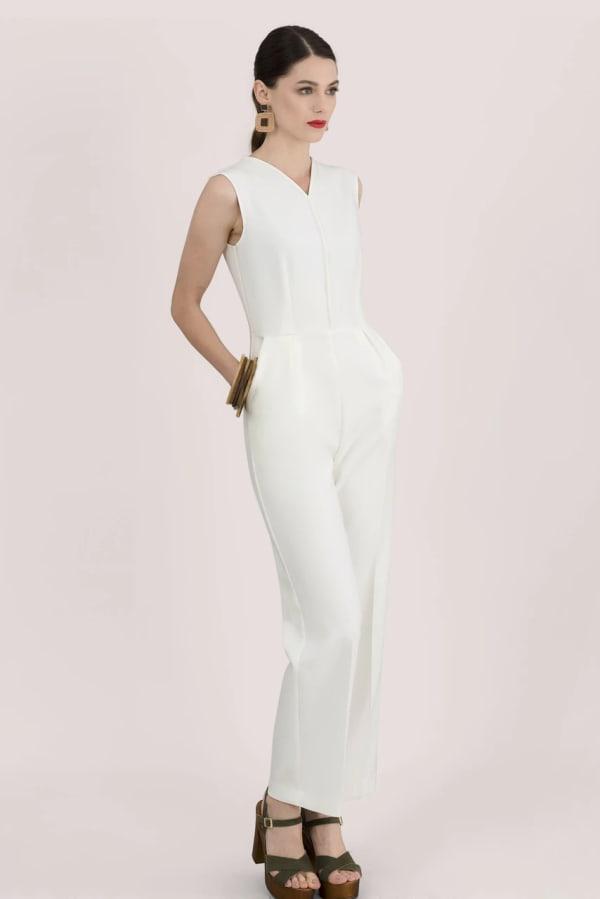 Ivory Sleeveless V-Neck Jumpsuit