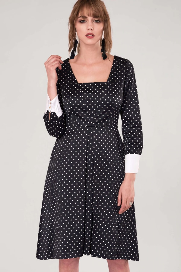 Closet Gold Black Polka Dot Pleated Midi Skirt Dress