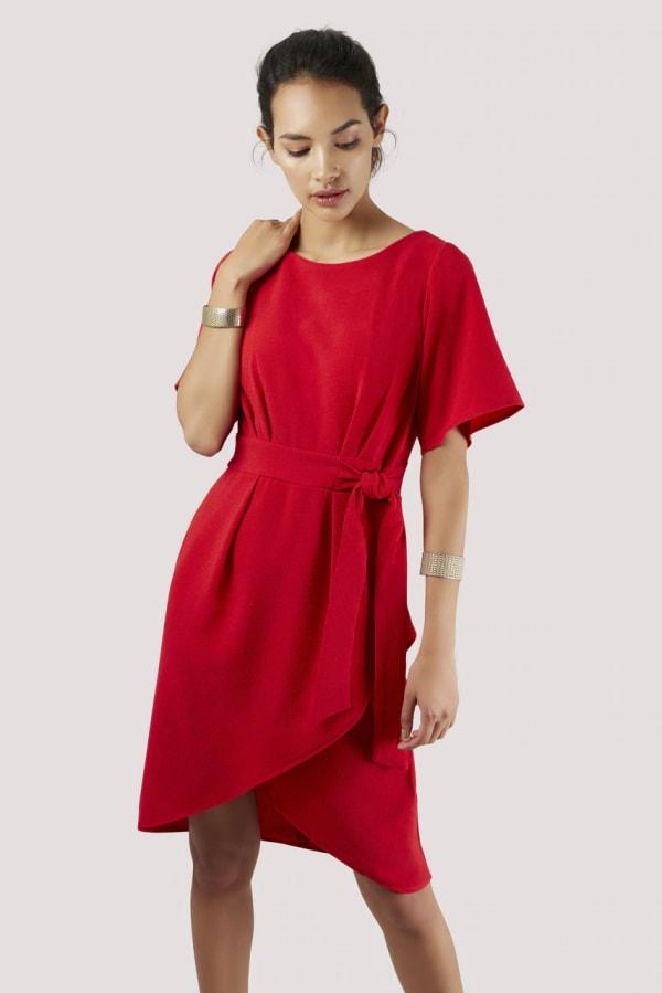 Red Kimono Wrap Dress