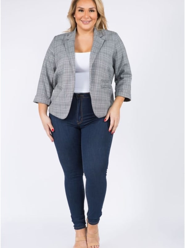 Plaid Woven Blazer - Plus - Black - Front