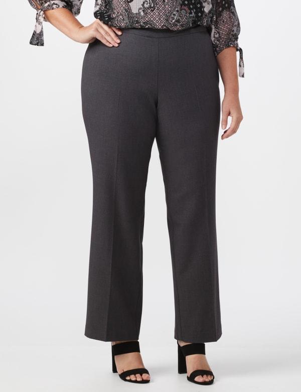 Roz & Ali Secret Agent Pull On Tummy Control Pants - Short Length - Plus - Grey - Front