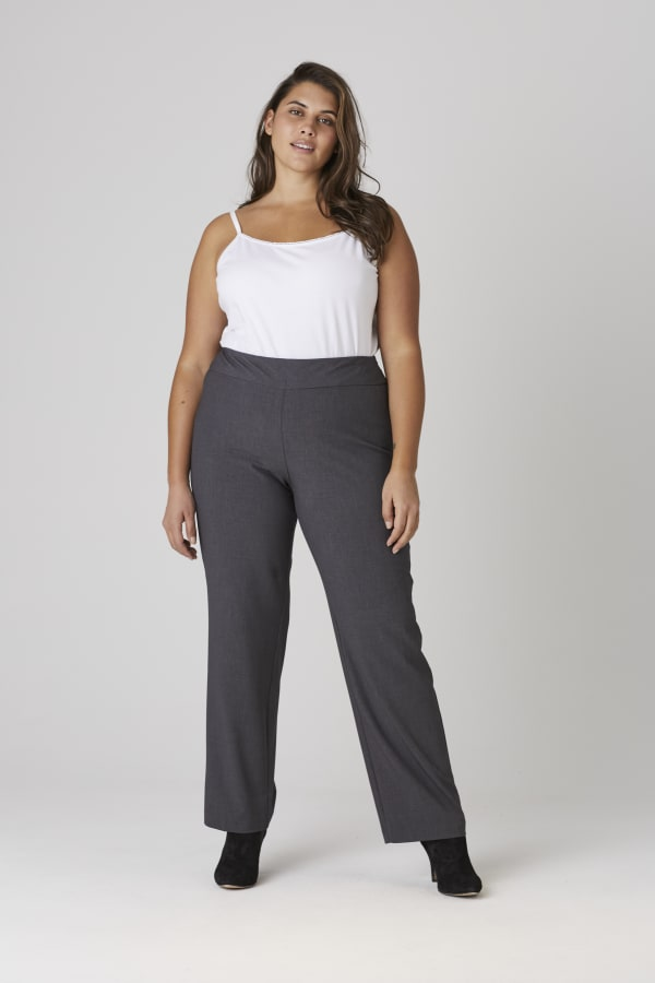 Roz & Ali Secret Agent Pull On Tummy Control Pants - Tall Length - Plus - Grey - Front