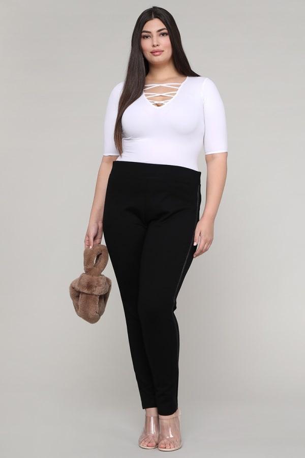 Plus-Size Tuxedo Premium Ponte Pants - Plus