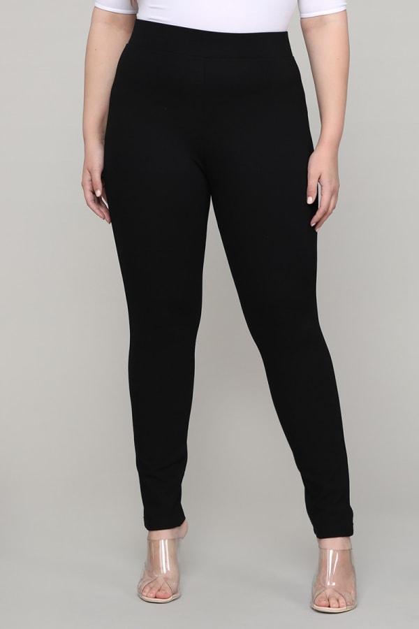 Premium Ponte Pants - Plus - Black - Front