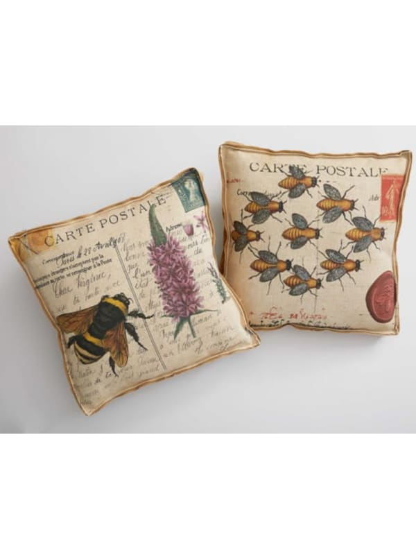 Oatmeal Bees Decorative Pillow