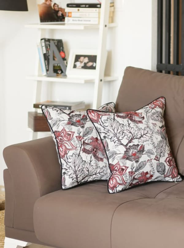 """Set of 2 17"""" Jacquard Weaver Throw Pillow Cover in Red - Red - Front"""
