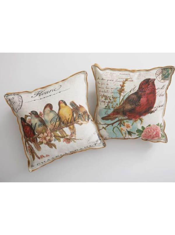Cream Red Birds On A Limb Decorative Pillow