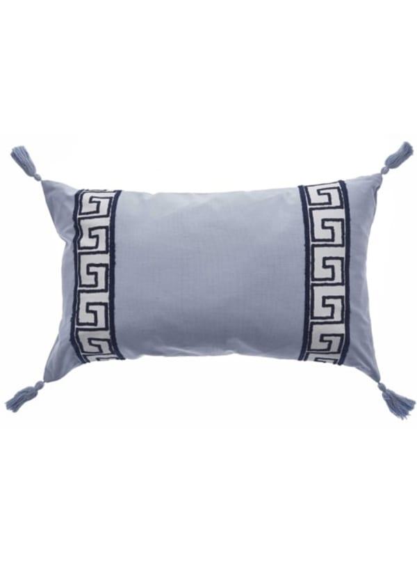 Elegant Smoke Gray Greek Key Lumbar Accent Pillow - Gray - Front