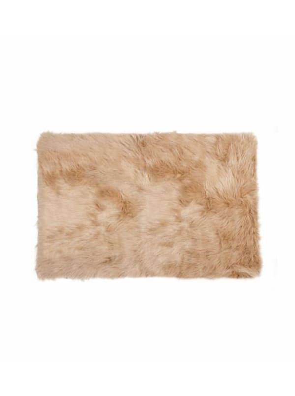 2' x 3' Tan Faux Fur Rectangular Area Rug