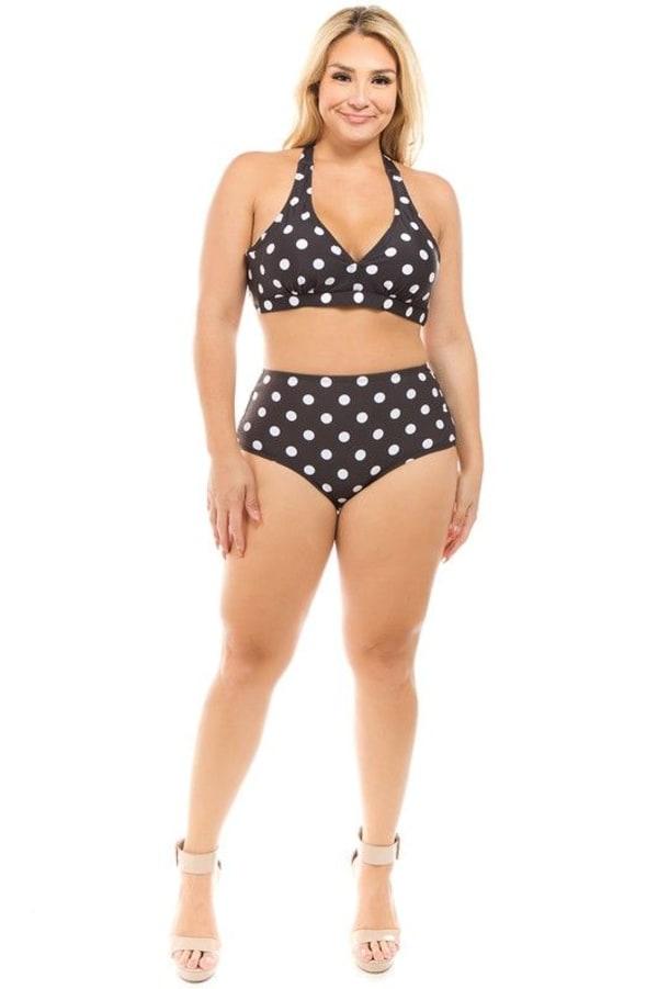 CaCelin Polka-Dot High Waist Bikini Set- Plus