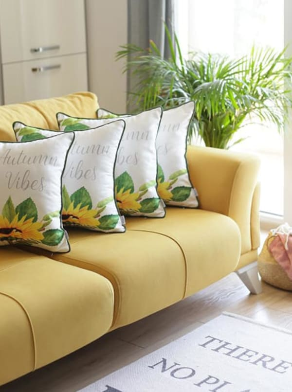 """Set of 4 18"""" Autumn Vibes Throw Pillow Cover in Multicolor"""