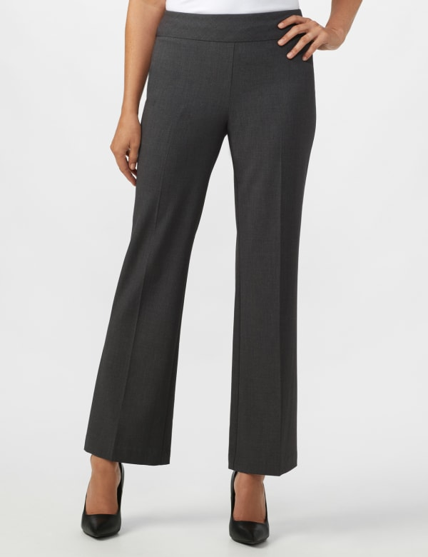 Roz & Ali Secret Agent Pull On Tummy Control Pants - Tall Length - Grey - Front