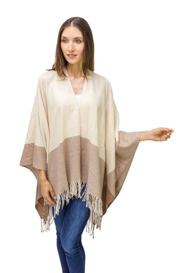 Super Soft Tonal Colorblock Ruana - Taupe - Front