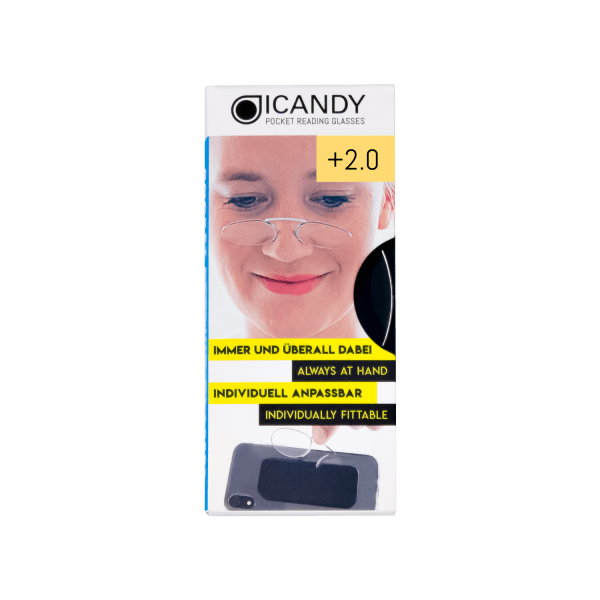 iCandy Clear Pocket Reading 2.0 Glasses - Clear - Front