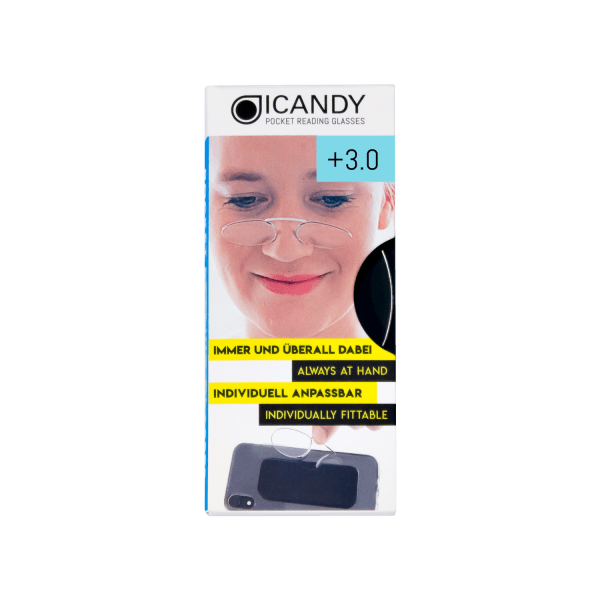 iCandy  Clear Pocket Reading 3.0 Glasses -Clear - Front
