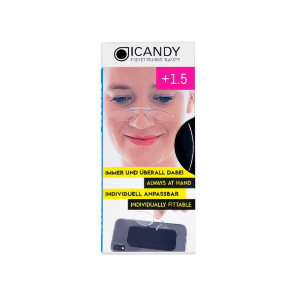 iCandy Clear Pocket Reading 1.5 Glasses - Clear - Front