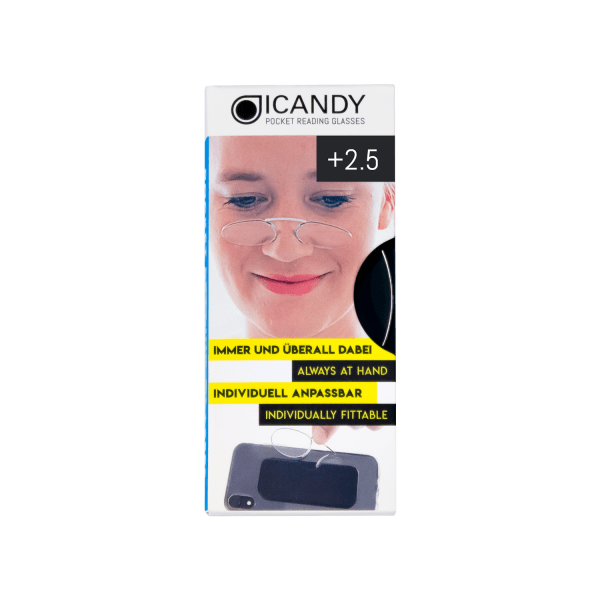 iCandy  Clear Pocket Reading 2.5 Glasses - Clear - Front