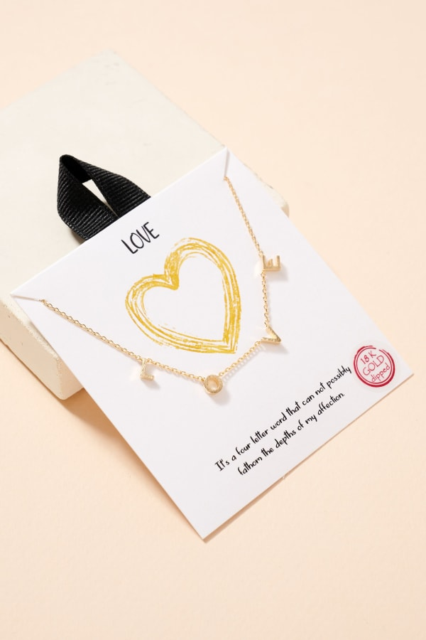 L-O-V-E Letter Charm Gold Plated Necklace