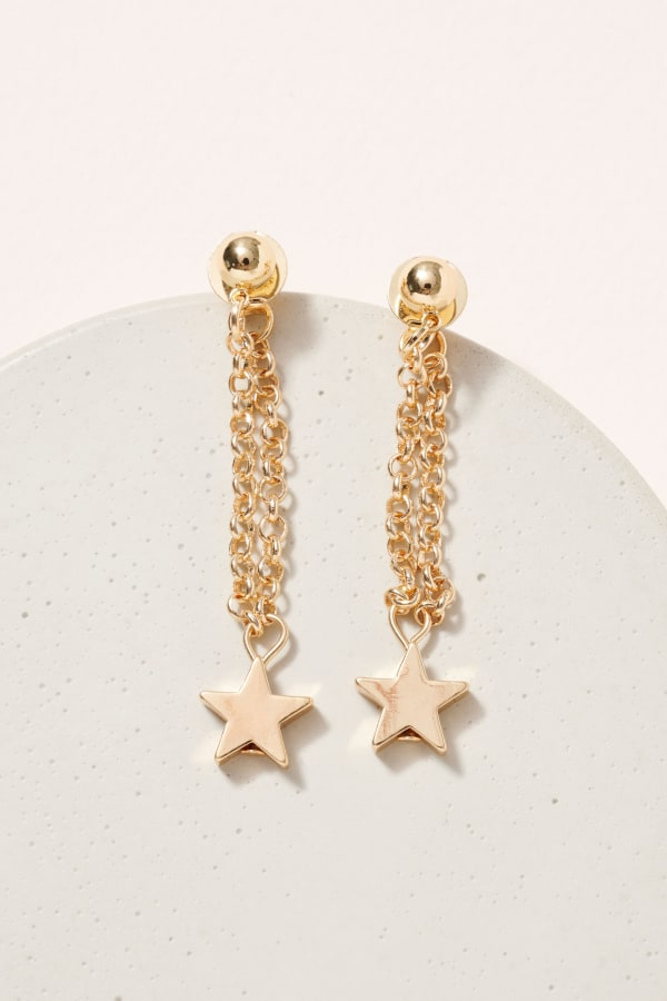 Gold / Rhodium Plated Star Charms Chain Dangling Earrings