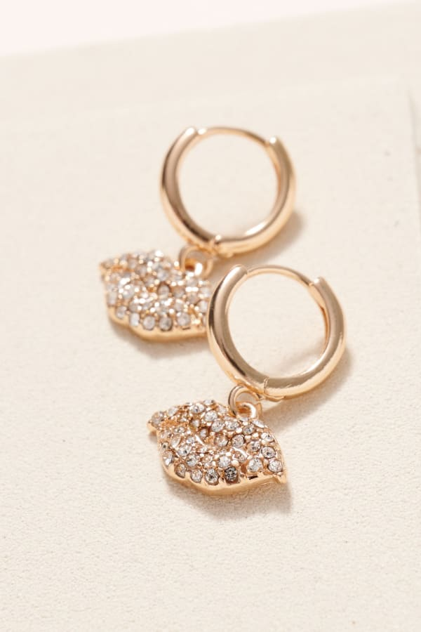 Gold/Rhodium Plated Lips Shape Charm Hoop Earrings