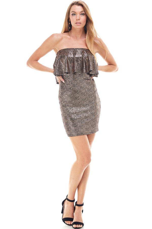 Shiny Textured Flounced Tube Dress