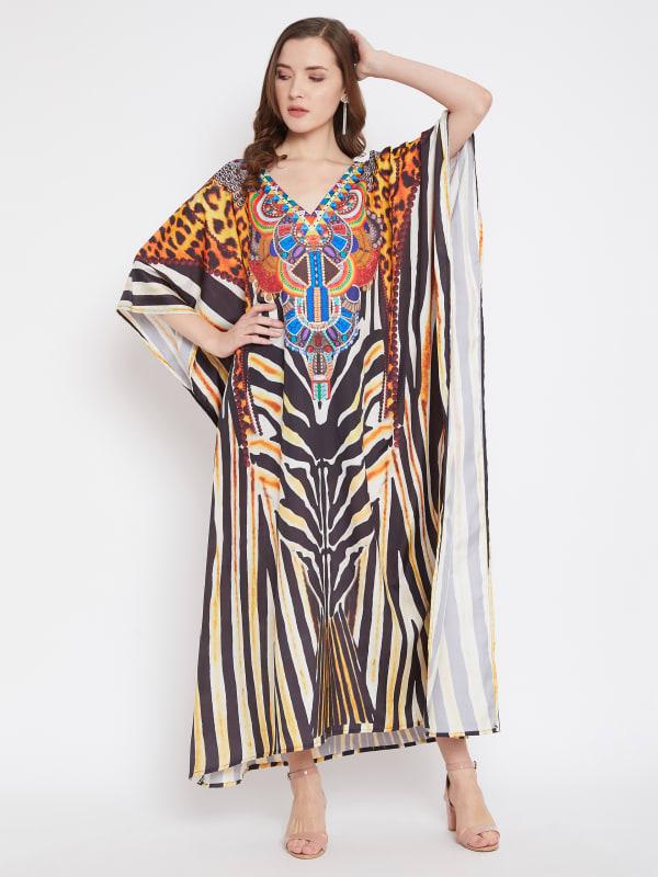 Leopard Handmade Print Kaftan Dress